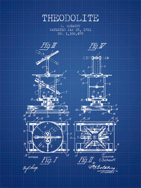 Wall Art - Digital Art - Theodolite Patent From 1921- Blueprint by Aged Pixel