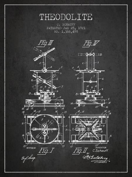 Wall Art - Digital Art - Theodolite Patent From 1921- Charcoal by Aged Pixel