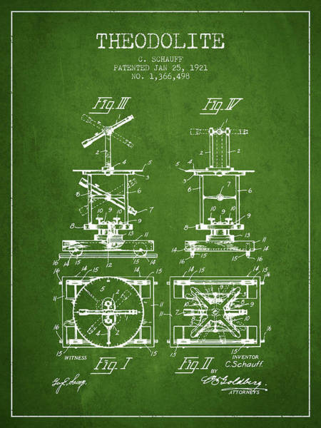 Wall Art - Digital Art - Theodolite Patent From 1921- Green by Aged Pixel