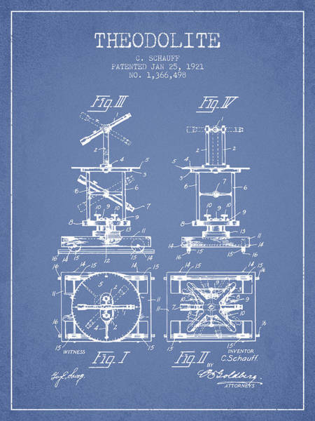 Wall Art - Digital Art - Theodolite Patent From 1921- Light Blue by Aged Pixel