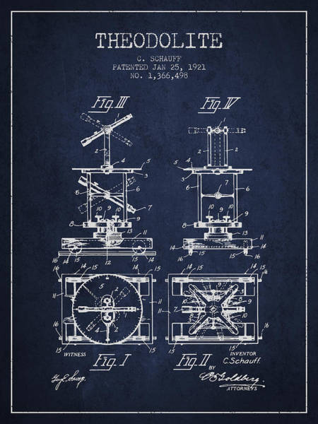 Wall Art - Digital Art - Theodolite Patent From 1921- Navy Blue by Aged Pixel