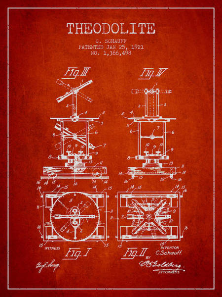 Wall Art - Digital Art - Theodolite Patent From 1921- Red by Aged Pixel