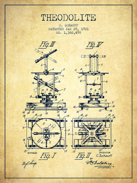 Wall Art - Digital Art - Theodolite Patent From 1921- Vintage by Aged Pixel