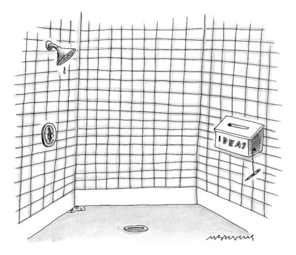 Bathroom Drawing - There Is An Idea Box In The Shower by Mick Stevens