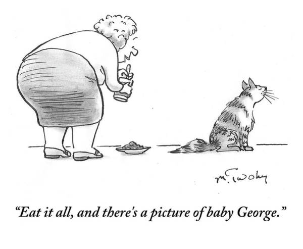Satire Drawing - There's A Picture Of Baby George by Mike Twohy