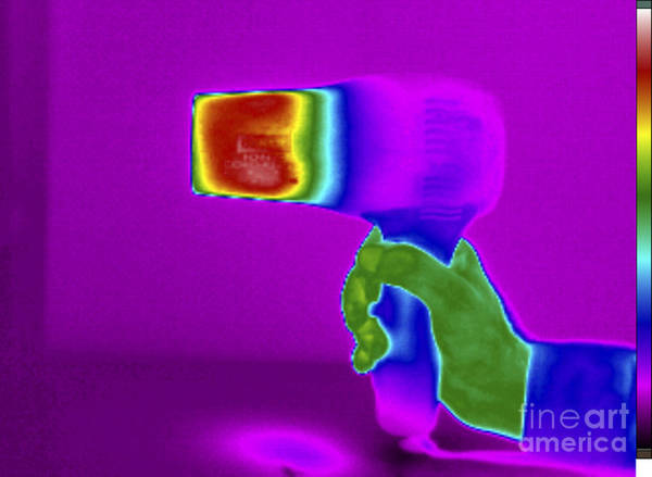 Infrared Radiation Photograph - Thermogram Of Hair Dryer by GIPhotoStock