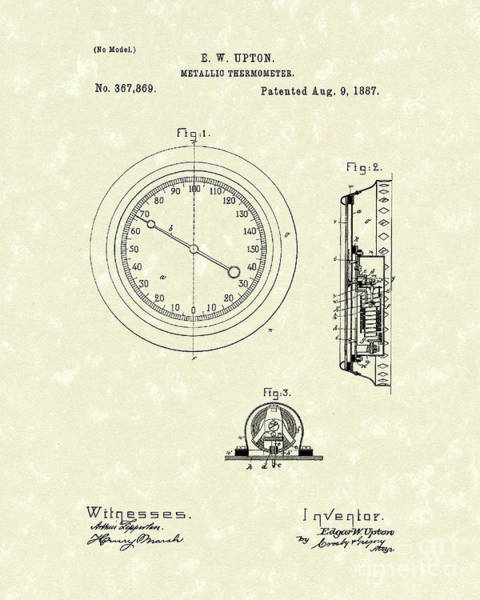 Thermometer Wall Art - Drawing - Thermometer 1887 Patent Art by Prior Art Design