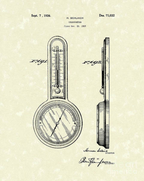 Drawing - Thermometer 1926 Patent Art by Prior Art Design