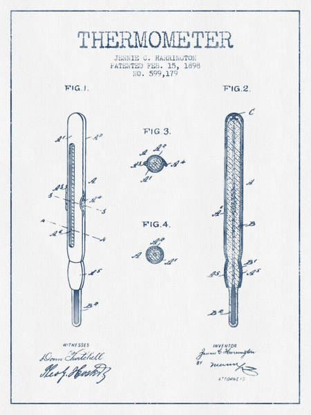 Temperature Digital Art - Thermometer Patent From 1898 - Blue Ink by Aged Pixel