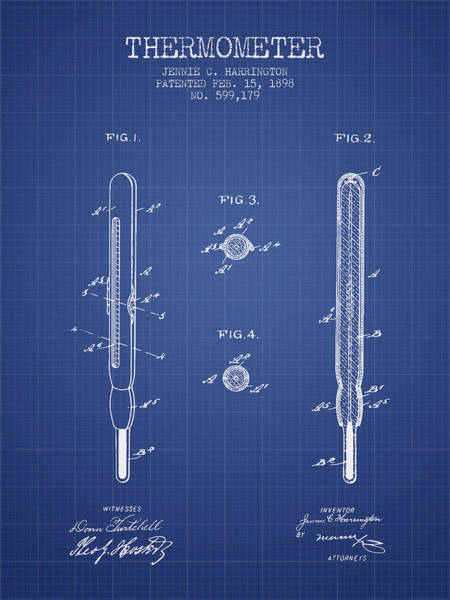 Temperature Digital Art - Thermometer Patent From 1898 - Blueprint by Aged Pixel