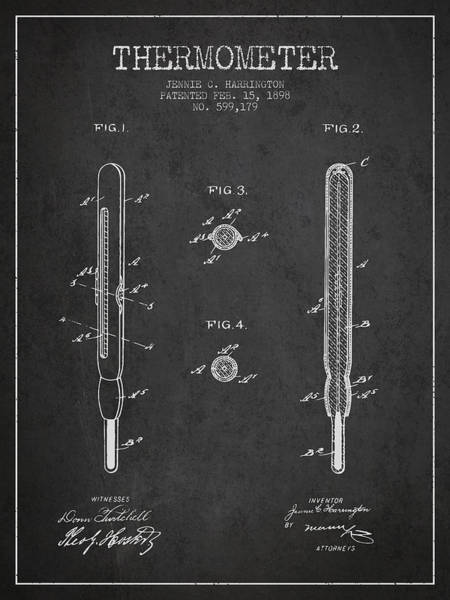 Temperature Digital Art - Thermometer Patent From 1898 - Dark by Aged Pixel