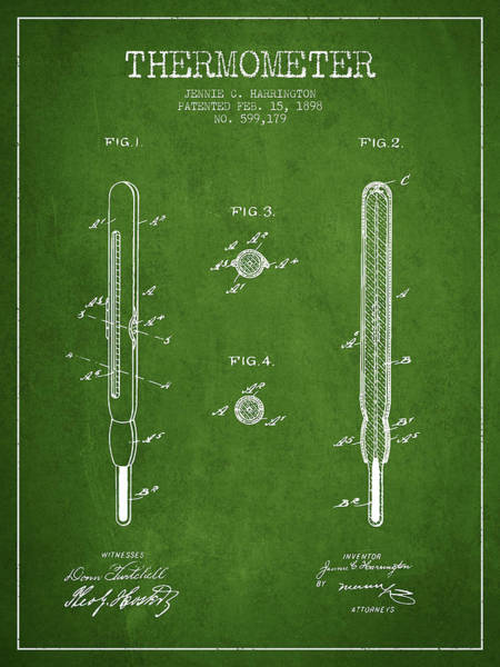 Temperature Digital Art - Thermometer Patent From 1898 - Green by Aged Pixel