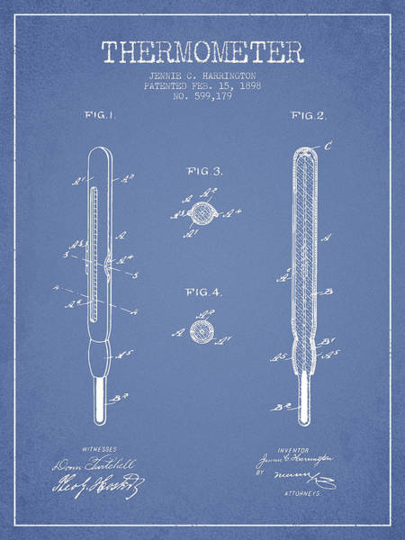 Device Digital Art - Thermometer Patent From 1898 - Light Blue by Aged Pixel