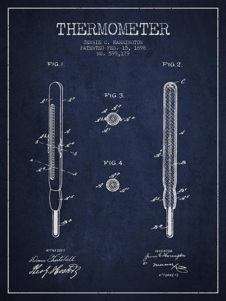Temperature Digital Art - Thermometer Patent From 1898 - Navy Blue by Aged Pixel