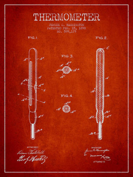 Temperature Digital Art - Thermometer Patent From 1898 - Red by Aged Pixel