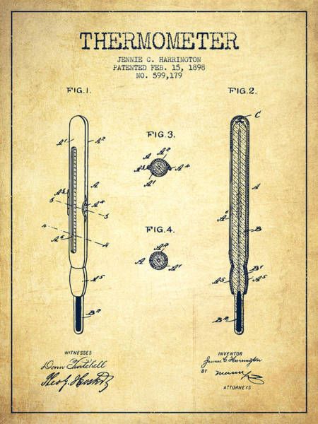 Device Digital Art - Thermometer Patent From 1898 - Vintage by Aged Pixel