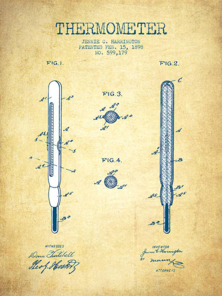 Temperature Digital Art - Thermometer Patent From 1898 - Vintage Paper by Aged Pixel