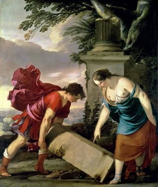Lifting Photograph - Theseus And His Mother Aethra, C.1635-36 Oil On Canvas by Laurent de La Hire or La Hyre