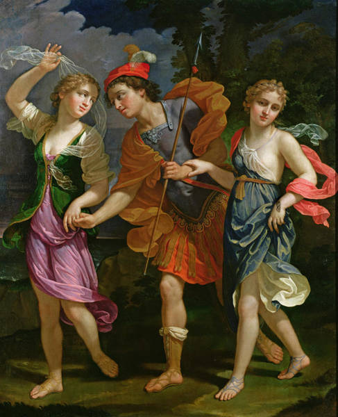 Spear Wall Art - Photograph - Theseus With Ariadne And Phaedra, The Daughters Of King Minos, 1702 by Benedetto the Younger Gennari