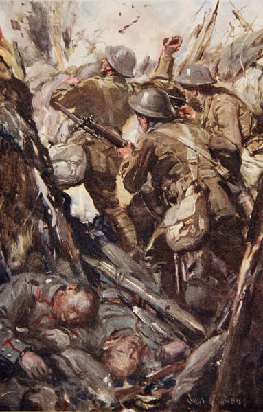 Warfare Drawing - They Bombed And Bayoneted Their Way by Cyrus Cuneo