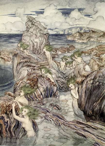 Ancient Drawing - They Have Sea-green Hair, Illustration by Arthur Rackham
