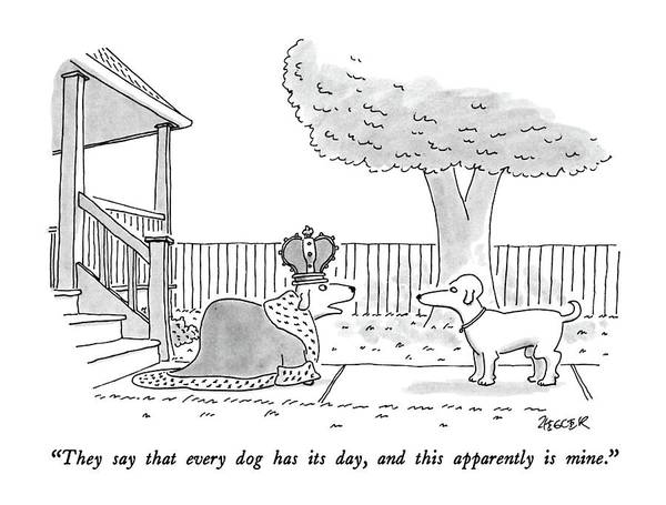 July 13th Drawing - They Say That Every Dog Has Its Day by Jack Ziegler
