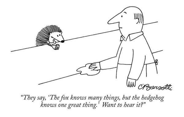 1998 Drawing - They Say, 'the Fox Knows Many Things, But by Charles Barsotti