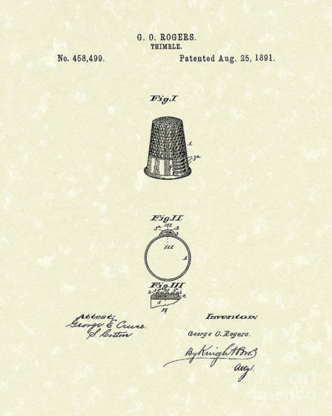 Drawing - Thimble 1891 Patent Art by Prior Art Design