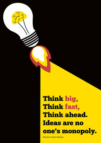 Wall Art - Digital Art - Think Big Think  Ahead Motivational Typography Art Inspirational Poster by Lab No 4 - The Quotography Department