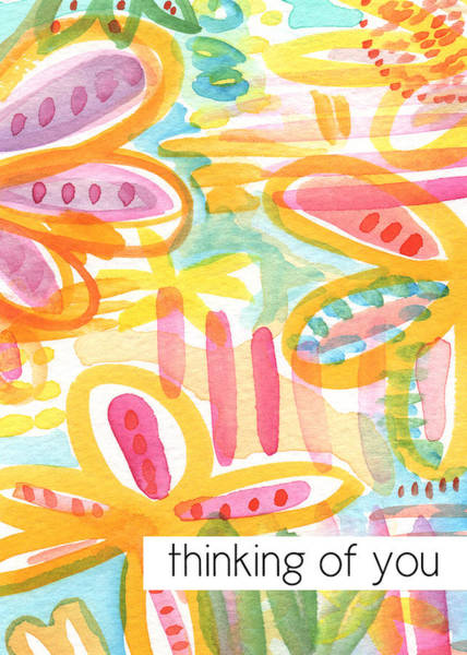 Friendship Painting - Thinking Of You- Flower Card by Linda Woods