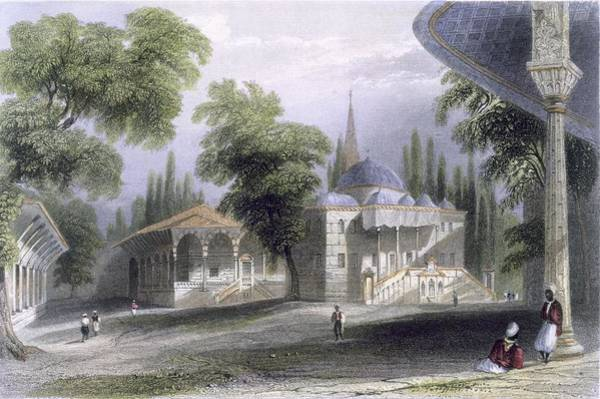 Royal Court Drawing - Third Court Of The Serai Bournou, C.1850 by William Henry Bartlett