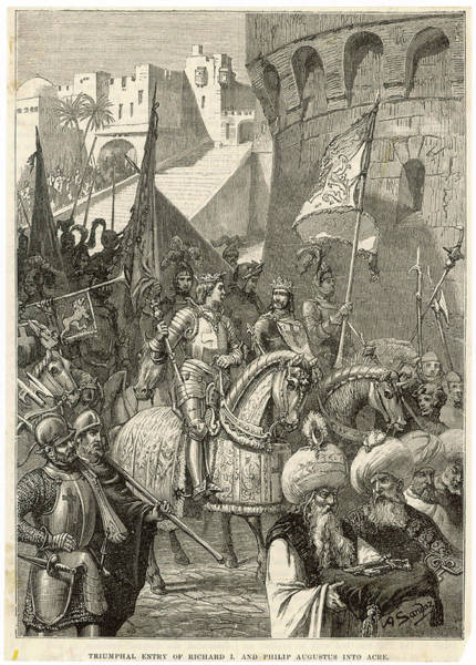 Wall Art - Drawing - Third Crusade - Richard I Lands At Acre by Mary Evans Picture Library
