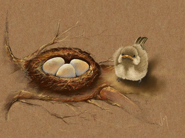 Wall Paper Painting - This Is My Nest? by Veronica Minozzi