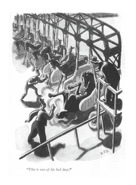 Horse Race Drawing - This Is One Of His Bad Days by Robert J. Day