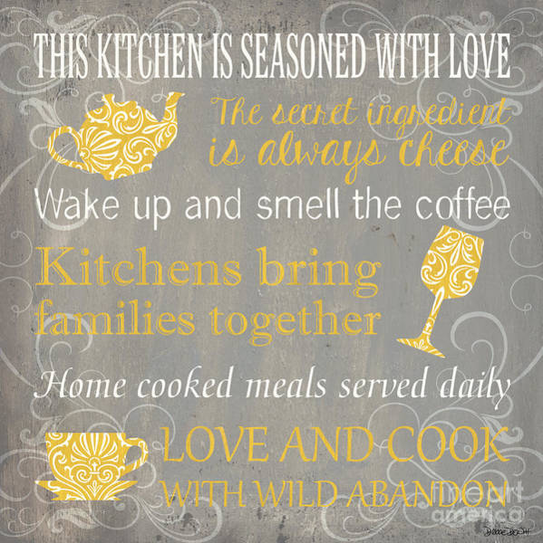 Tea Pot Wall Art - Painting - This Kitchen Is Seasoned With Love by Debbie DeWitt