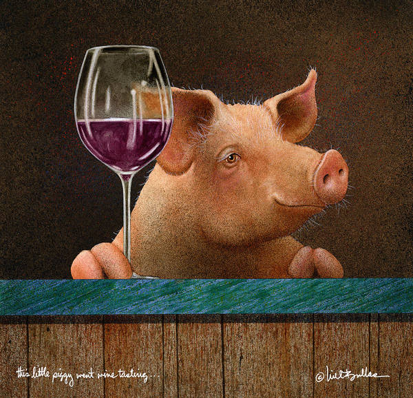 Wall Art - Painting - This Little Piggy Went Wine Tasting... by Will Bullas