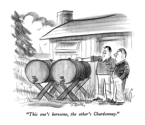 Barrels Drawing - This One's Kerosene by Donald Reilly