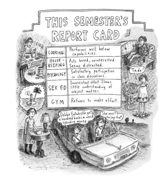 Cooking Drawing - This Semester's Report Card For Cooking by Roz Chast