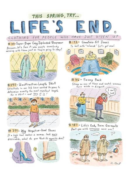 Man And Woman Drawing - This Spring Try Life's End:  'clothing For People by Roz Chast