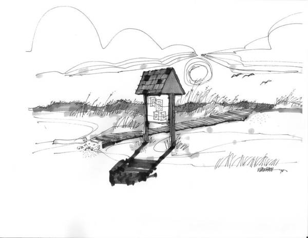 Drawing - This Way To The Sea Ocracoke 1970s by Richard Wambach
