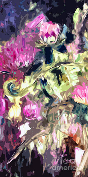 Painting - Thistles Abstract Triptych #1 Floral by Ginette Callaway