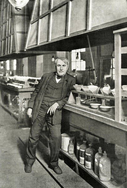 Wall Art - Photograph - Thomas Alva Edison  In His Laboratory by Mary Evans Picture Library