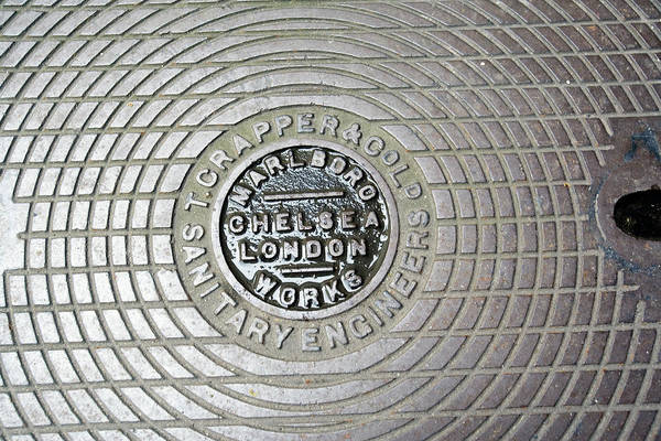 fc6250678 Manhole Wall Art - Photograph - Thomas Crapper Manhole Cover by Adam  Hart-davis/