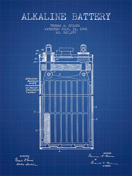 Electricity Digital Art - Thomas Edison Alkaline Battery From 1906 - Blueprint by Aged Pixel