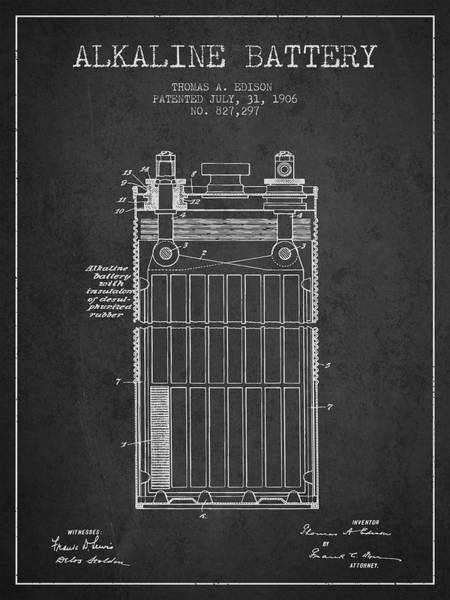 Electricity Digital Art - Thomas Edison Alkaline Battery From 1906 - Charcoal by Aged Pixel