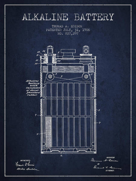 Electricity Digital Art - Thomas Edison Alkaline Battery From 1906 - Navy Blue by Aged Pixel