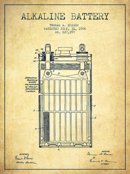 Electricity Digital Art - Thomas Edison Alkaline Battery From 1906 - Vintage by Aged Pixel