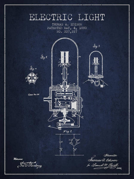 Patentee Wall Art - Digital Art - Thomas Edison Electric Light Patent From 1880 - Navy Blue by Aged Pixel