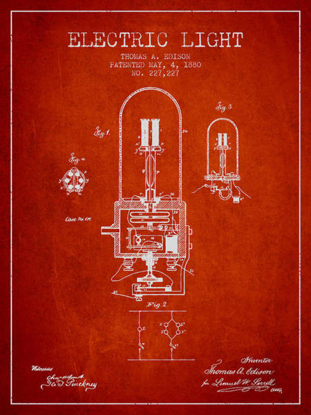 Bulbs Digital Art - Thomas Edison Electric Light Patent From 1880 - Red by Aged Pixel