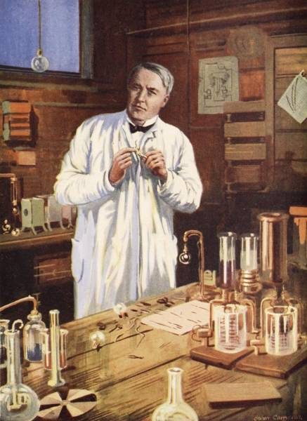Scientist Drawing - Thomas Edison In His Workshop by John Cameron